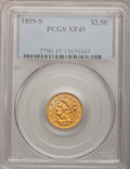 Liberty Quarter Eagles: , 1859-S $2 1/2 XF45 PCGS. PCGS Population (7/31). NGC Census:(14/77). Mintage: 15,200. Numismedia Wsl. Price for problem fr...