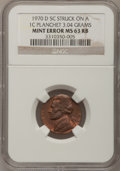 Errors, 1970-D 5C Jefferson Nickel--Struck on a Cent Planchet--MS63 Red andBrown NGC. 3.04 grams....