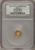 California Fractional Gold, 1853 $1 Liberty Octagonal 1 Dollar, BG-531, R.4--ObverseScratched--NCS. AU Details....
