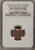 Errors, Undated 5C Jefferson Nickel-- Struck 85% Off-Center on a Blank Cent Planchet--MS64 Red and Brown NGC. 3.1 grams. NGC Censu...