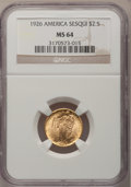 Commemorative Gold: , 1926 $2 1/2 Sesquicentennial MS64 NGC. NGC Census: (2520/1081).PCGS Population (4123/1895). Mintage: 46,019. Numismedia Ws...