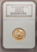 Modern Issues: , 1992-W G$5 Columbus Gold Five Dollar MS70 NGC. NGC Census: (811).PCGS Population (267). Mintage: 24,329. Numismedia Wsl. P...