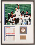 Baseball Collectibles:Photos, 1998 David Wells Perfect Game Piece, Signed by Wells and YankeesTeam....
