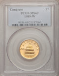 Modern Issues: , 1989-W G$5 Congress Gold Five Dollar MS69 PCGS. PCGS Population(1927/209). NGC Census: (1054/1041). Mintage: 46,899. Numis...