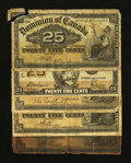 Canadian Currency: , 1900 and 1923 25¢ Notes.. ... (Total: 5 notes)