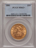 Liberty Eagles, 1881 $10 MS62+ PCGS. PCGS Population (1242/249). NGC Census:(3023/618). Mintage: 3,877,260. Numismedia Wsl. Price for prob...