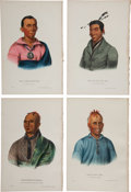 Books:Prints & Leaves, McKenney and Hall. Four Hand-Colored Lithographs from the 1870Octavo Edition of History of the Indian Tribes of North A...(Total: 4 Items)