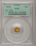 California Fractional Gold: , 1870 25C Liberty Round 25 Cents, BG-835, R.3, MS62 PCGS. PCGSPopulation (61/28). NGC Census: (11/0). (#10696)...