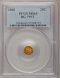 California Fractional Gold: , 1868 25C Indian Octagonal 25 Cents, BG-799T, High R.5, MS65 PCGS.PCGS Population (5/1). NGC Census: (2/0). (#10646)...