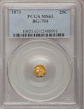California Fractional Gold: , 1873 25C Indian Octagonal 25 Cents, BG-794, High R.5, MS63 PCGS.PCGS Population (5/16). NGC Census: (1/2). (#10621)...