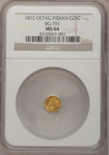 California Fractional Gold: , 1872 25C Indian Octagonal 25 Cents, BG-791, R.3, MS64 NGC. NGCCensus: (12/6). PCGS Population (93/17). (#10618)...