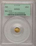 California Fractional Gold: , Undated 25C Liberty Round 25 Cents, BG-222, R.2, MS65 PCGS. PCGSPopulation (14/2). NGC Census: (7/3). (#10407)...