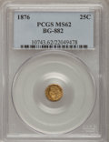 California Fractional Gold: , 1876 25C Indian Round 25 Cents, BG-882, R.7, MS62 PCGS. PCGSPopulation (1/13). (#10743)...