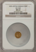 California Fractional Gold: , 1876 50C Indian Octagonal 50 Cents, BG-949, R.4, MS63 NGC. NGCCensus: (3/2). PCGS Population (19/37). (#10807)...
