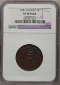 Coins of Hawaii: , 1847 1C Hawaii Cent--Corrosion--NGC Details. XF. NGC Census:(1/190). PCGS Population (8/325). Mintage: 100,000. (#10965)...
