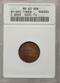 Civil War Merchants, C. Bahr MS62 Brown NGC, Fuld-630C-4a, New York, NY; C. Bahr MS64Brown NGC, Fuld-630C-6a, New York, NY; C. Bahr MS62 B... (Total: 5tokens)