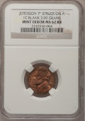 """Errors, Undated 5C Jefferson Nickel """"P""""--Struck on a Blank CentPlanchet--MS62 Red and Brown NGC. 3.09 Grams...."""