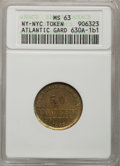Civil War Merchants, 1863 Atlantic Gardens MS63 ANACS, Fuld-630A-1b1, New York, NY;George Hyenlein MS62 Brown NGC, Fuld-630AL-7a, New York, ...(Total: 4 tokens)