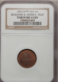 Civil War Merchants, 1863 Benjamin & Herrick, Fruit Dealers, MS62 Brown NGC,Fuld-10A-6a, Albany, NY; 1864 P.V. Fort & Co., Fruit And Nuts,MS6... (Total: 7 tokens)