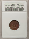 Civil War Merchants, 1863 Frederick Rollwagen, Jr. MS63 Red and Brown ANACS,Fuld-630BI-1a, New York, NY; 1863 Frederick Rollwagen, Jr. MS64Re... (Total: 3 tokens)