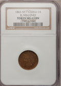 Civil War Merchants, 1863 B. Maloney MS63 Brown NGC, Fuld-630AU-1a, New York, NY; and an1863 B. Maloney MS64 Red and Brown ANACS, Fuld-630AU... (Total: 2tokens)
