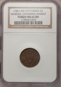 Civil War Merchants, Wm. F. Warner, Catherine Market, MS62 Brown NGC, Fuld-630CB-2a, NewYork, NY; and a Wm. F. Warner, Catherine Market, MS63 ... (Total: 2tokens)