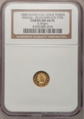 "California Gold Charms, ""1860"" 1/2 California Gold, Indian/Bear, Wreath MS66 Prooflike NGC. 0.49gm...."