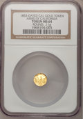 "California Gold Charms, ""1853"" Round Arms of California, California Gold MS64 NGC. 0.11gm...."
