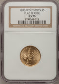 Modern Issues: , 1996-W G$5 Olympic/Flag Bearer Gold Five Dollar MS70 NGC. NGCCensus: (300). PCGS Population (89). Numismedia Wsl. Price f...