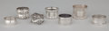 Silver Holloware, American:Napkin Rings, A GROUP OF SEVEN AMERICAN SILVER AND ONE COIN SILVER NAPKIN RINGS .Gorham Manufacturing Co., Providence, Rhode Island, circ... (Total:7 Items)