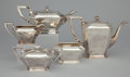 Silver Holloware, American:Tea Sets, AN AMERICAN FIVE-PIECE SILVER TEA AND COFFEE SERVICE . GorhamManufacturing Co., Providence, Rhode Island, circa 1910. Marks...(Total: 6 Items)