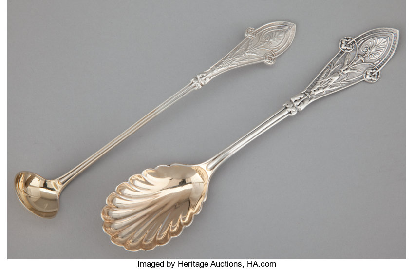 Silver Flatware American Tiffany Two And Gilt Serving Pieces