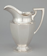 AN AMERICAN SILVER WATER PITCHER Dominick & Haff, New York, New York, circa 1920 Marks: (rectangle-circle-diam