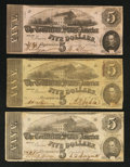 Confederate Notes:1863 Issues, 1862 and 1863 $5's.. ... (Total: 3 notes)