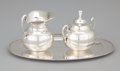 Silver Holloware, Mexican:Holloware, A MEXICAN SILVER COVERED SUGAR BOWL AND CREAMER WITH TRAY . Eddie's, Mexico City, Mexico, circa 1960. Marks: Eddie's, STER... (Total: 4 Items)