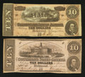 Confederate Notes:1862 Issues, T52 $10 1862. T68 $10 1864.. ... (Total: 2 notes)