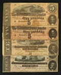 Confederate Notes:1864 Issues, T67 $20 1864. T68 $10 1864. T69 $5 1864 Two Examples.. ... (Total: 4 notes)