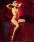 Pin-up and Glamour Art, ART FRAHM (American, 1906-1981). Seated Nude. Oil on canvas.30 x 24 in.. Signed lower right. ...