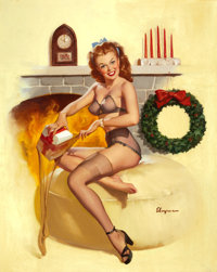 GIL ELVGREN (American, 1914-1980) Pin-Up in Front of Fireplace, circa 1940s/ early 1950s Oil on canv