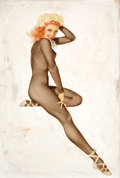 Paintings, ALBERTO VARGAS (American, 1896-1982). Sitting Pretty, February Pin-Up for The Varga Girl calendar, 1948. Watercolor and ...