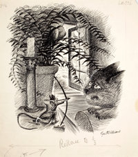 GARTH WILLIAMS (American, 1912-1996) Stuart Little, A Direct Hit!, page 56 illustration, 1945 Ink on