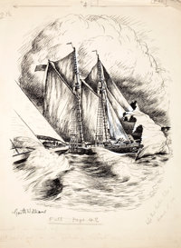 GARTH WILLIAMS (American, 1912-1996) Stuart Little, The Sailboat Race, page 42 illustration, 1945 In