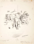 Mainstream Illustration, GARTH WILLIAMS (American, 1912-1996). Stuart Little, TouchingHis Toes, page 12 illustration, 1945. Ink on paper. 13.5 x...