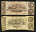 Confederate Notes:1862 Issues, T52 $10 1862. T59 $10 1863.. ... (Total: 2 notes)