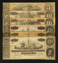 Confederate Notes:1864 Issues, T67 $20 1864 Three Examples. T68 $10 1864 Two Examples. T69 $5 1864.. ... (Total: 6 notes)