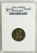 Bust Dimes: , 1814 10C Large Date--Scratched--ANACS. VF20 Details. JR-3. NGCCensus: (2/136). PCGS Population (2/97). Mintage: 421,500. N...