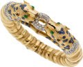 Estate Jewelry:Bracelets, Diamond, Sapphire, Emerald, Gold Bracelet. ...
