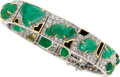 Estate Jewelry:Bracelets, Emerald, Diamond, Enamel, Platinum, Gold Bracelet. ...