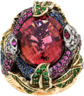 Estate Jewelry:Rings, Tourmaline, Diamond, Sapphire, Tsavorite Garnet, Gold Ring. ...