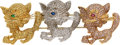 Estate Jewelry:Brooches - Pins, Colored Diamond, Diamond, Multi-Stone, Gold Brooch. ...